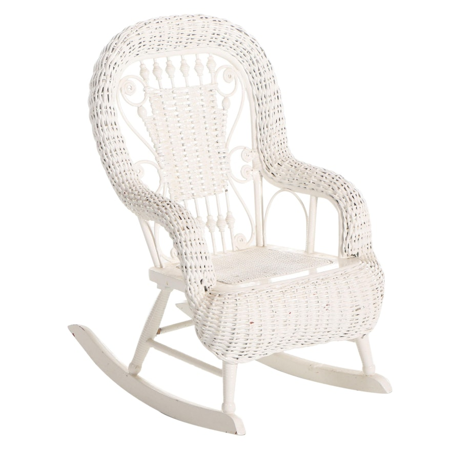 Child's White-Painted Woven Wicker Rocking Chair, Late 20th Century