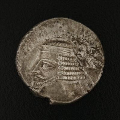 Ancient Parthian Kingdom AR Drachm Coin of Phraates IV, ca. 38 BC