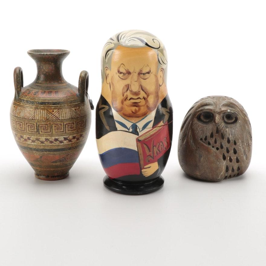 Glenn Heath Carved Owl with Amphora Replica and Russian Leaders Matryoshka Dolls