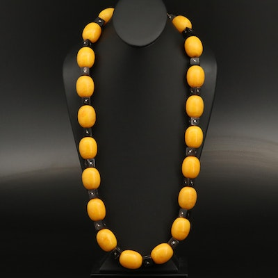 Faux Amber and Horn Beaded Endless Necklace with Metal Inlay