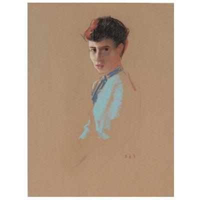 Edmond J. Fitzgerald Pastel Portrait of a Woman, Mid-20th Century