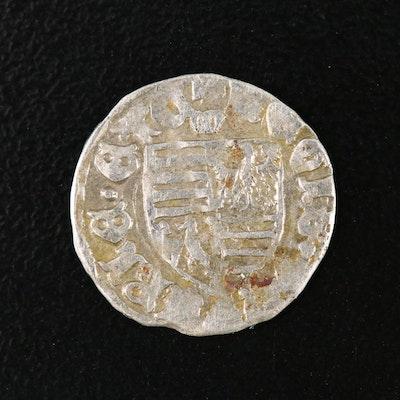 Hungary Silver Denar Coin of Sigismund, ca. 1400