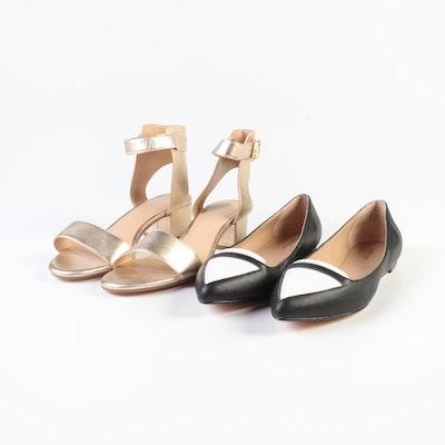 Lands' End Contrast Flats and Heel Ankle Strap Sandals