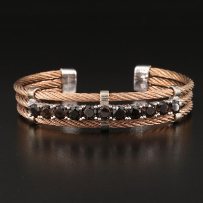 Sterling and Stainless Steel Smoky Quartz Cable Cuff