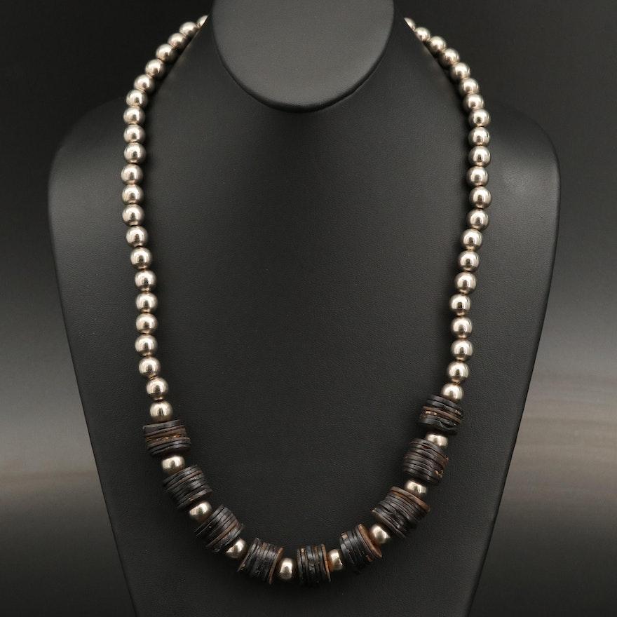 Wood Heishi Beaded Necklace