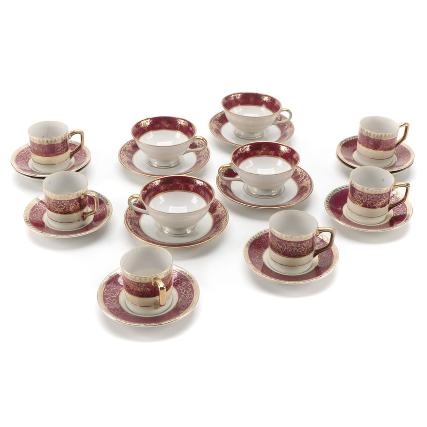Japanese Yamaka Porcelain Demitasse Cups and Other Teacups, Mid-20th Century