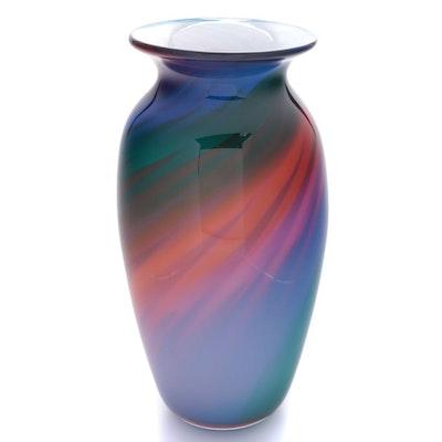 Bruce Freund Handblown Studio Art Glass Vase, 1995