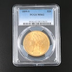 PCGS Graded MS62 1899-S Liberty Head $20 Gold Double Eagle