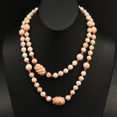 Shell and Coral Beaded Endless Necklace