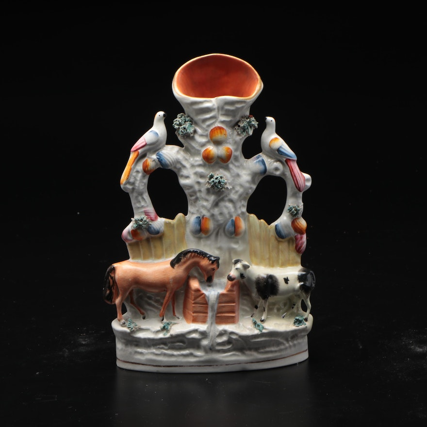 """Staffordshire Ceramic """"The Good Companions"""" Spill Vase, Mid to Late 19th Century"""