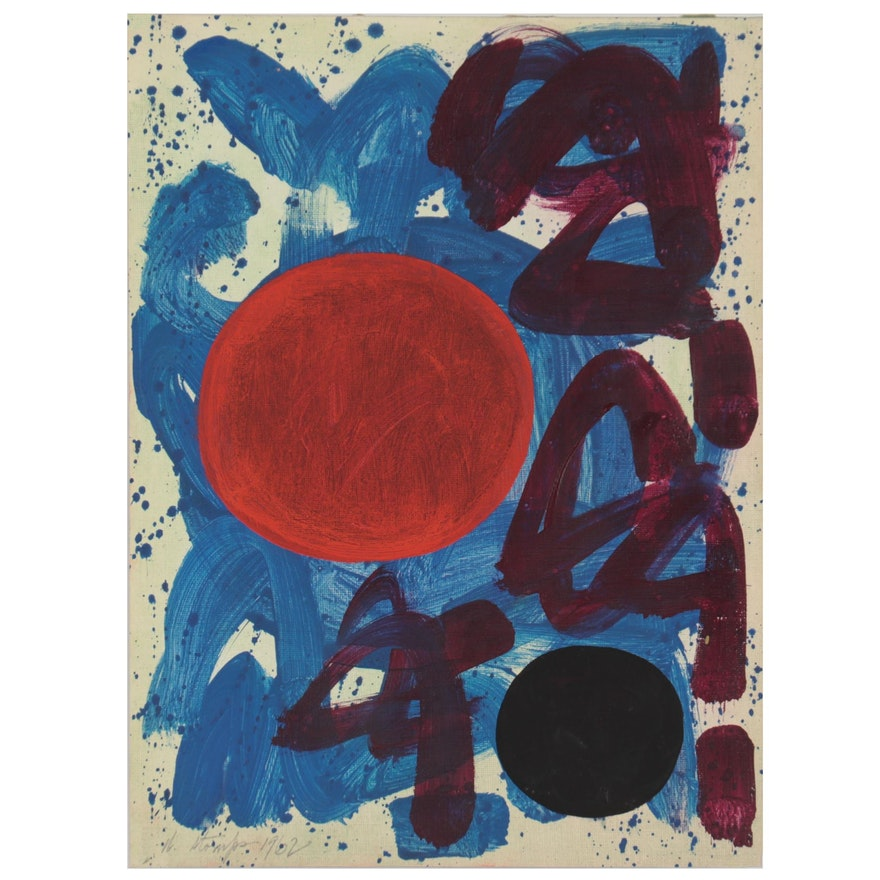 Walter Stomps Abstract Oil Painting, 1962