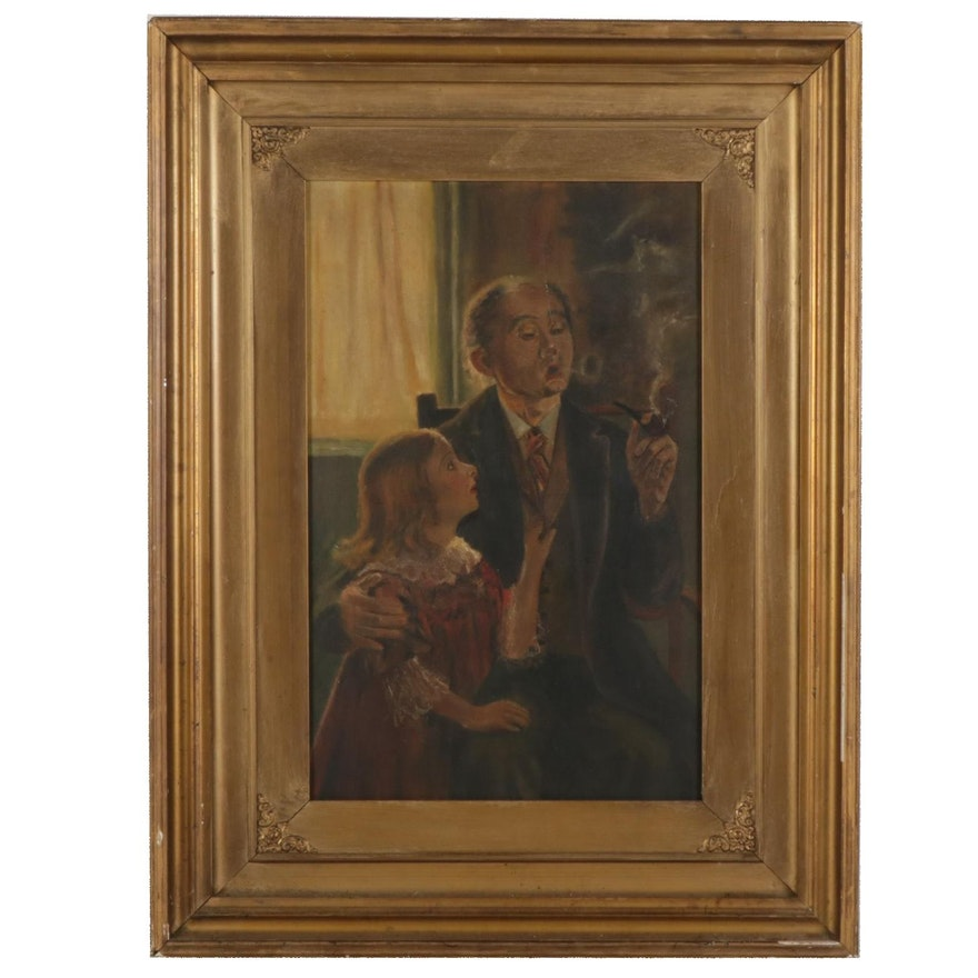 Smoking Lounge Scene Oil Painting, Early 20th Century