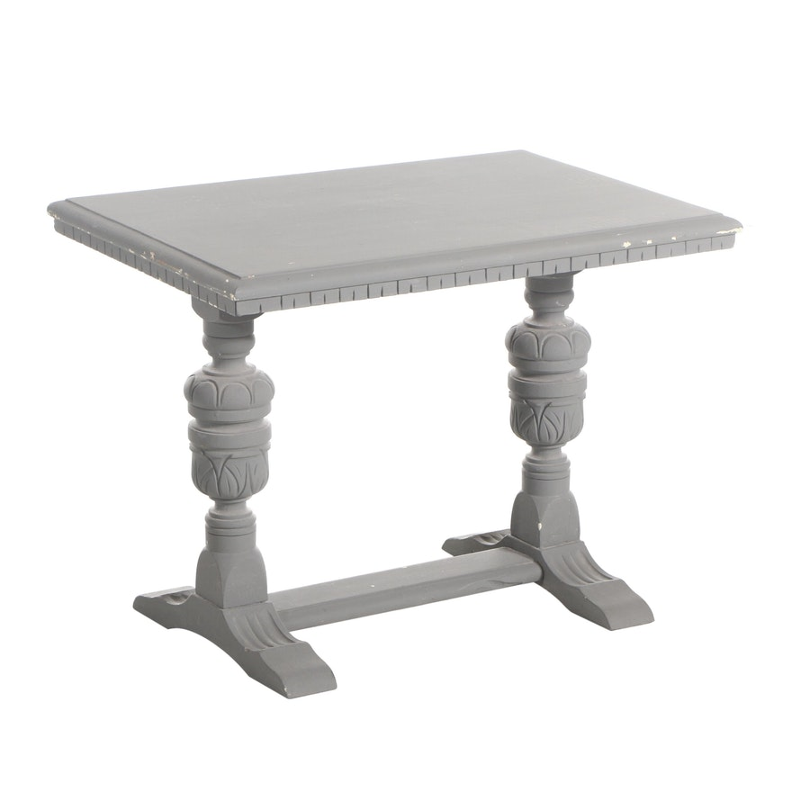 Victorian Style Painted Wood Trestle Side Table