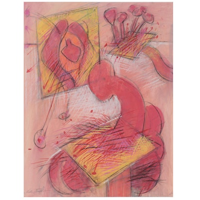 Walter Stomps Abstract Pastel Drawing, Mid-20th Century