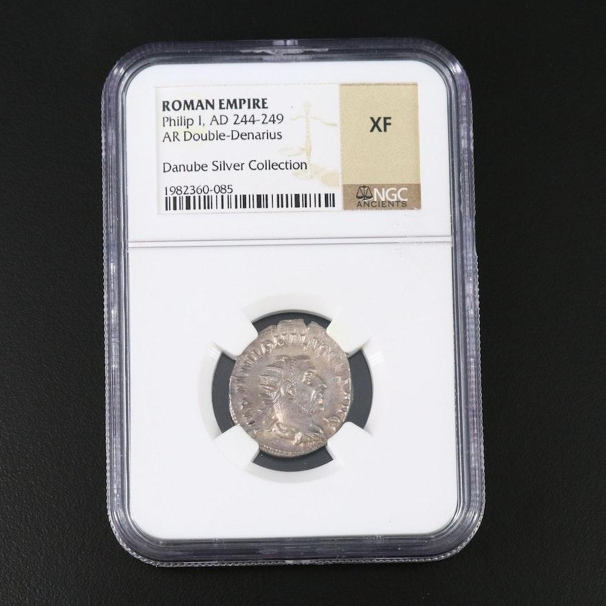 NGC Graded XF Ancient Roman AR Antoninianus Coin of Philip I, ca. 244 AD