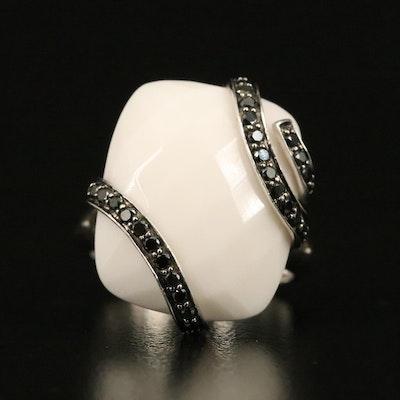 14K Chalcedony and Black Diamond Ring