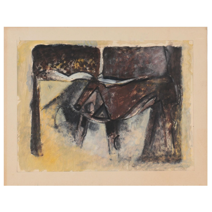 Walter Stomps Abstract Oil Painting, 1958