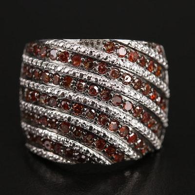 Sterling 1.19 CTW Diamond Multi-Row Ring