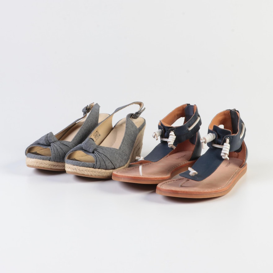 Lands' End Knotted Peep Toe Espadrilles and Leather Thong Sandals