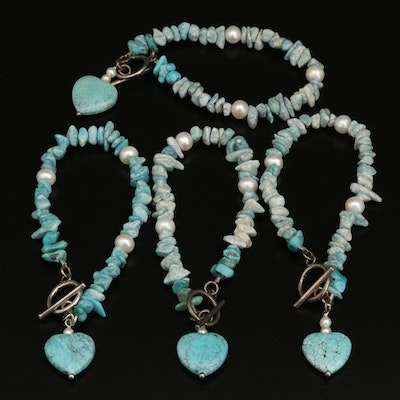 Sterling Beaded Bracelets with Heart Charms Including Pearl and Turquoise