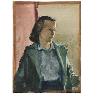 Edmond J. Fitzgerald Watercolor Portrait, 1938