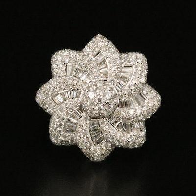 18K 2.98 CTW Diamond Flower Pinwheel Ring