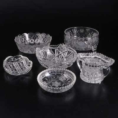 American Brilliant Style Cut and Pressed Glass Bowls