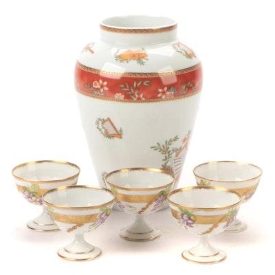 Medard de Noblat Limoges Porcelain Vase with Porcelain Coupes