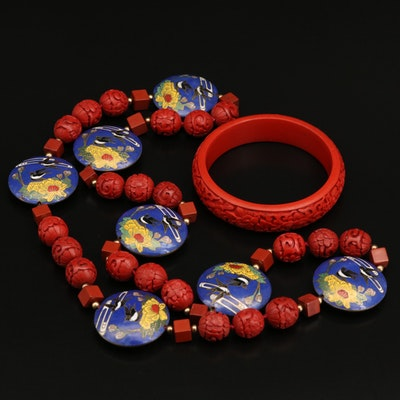 Asian Style Cloisonné and Faux Carved Cinnabar Bead Necklace and Bangle
