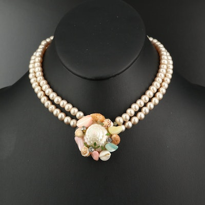 Shell Pendant on Faux Pearl Double Strand Necklace