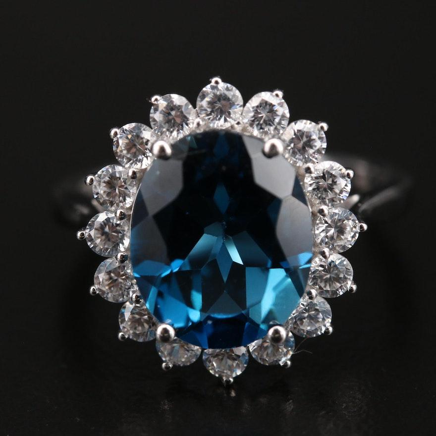 10K 4.95 CT London Blue Topaz and Zircon Ring
