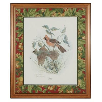 """John A. Ruthven Offset Lithograph """"Cardinals,"""" Circa 2000"""