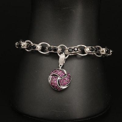 Sterling Silver Garnet and Spinel Bracelet with Enhancer Knot Charm
