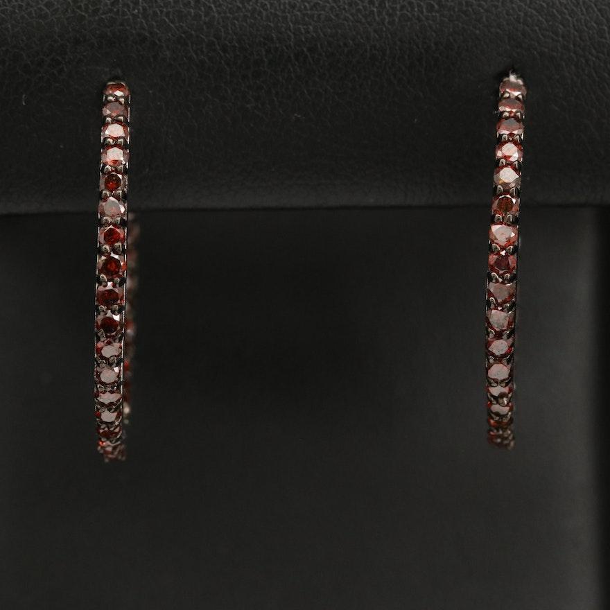 Sterling Silver 1.90 CTW Diamond Inside-Out Hoop Earrings
