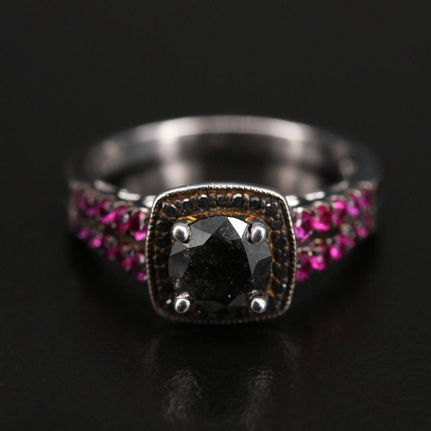 Sterling 1.12 CTW Diamond Halo Ring with Pink Sapphire Accent