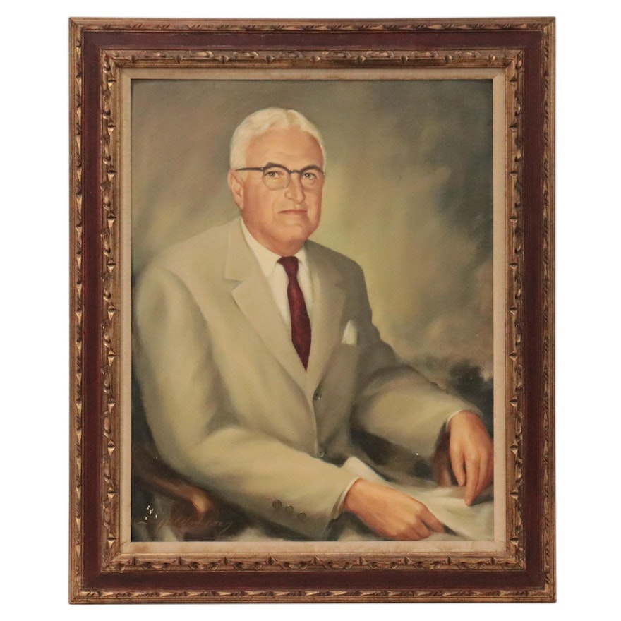 Portrait Oil Painting of a Seated Man, Mid-20th Century