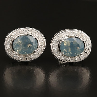Sterling Silver Opal and Diamond Halo Button Earrings
