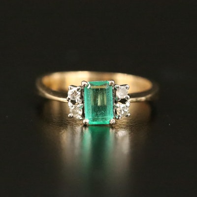 18K Emerald and Diamond Ring with 14K Center