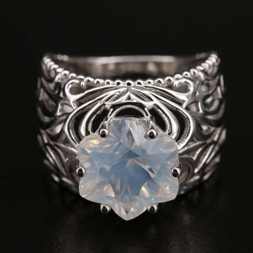Sterling Moonstone Openwork Ring