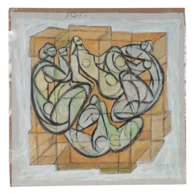 "Mosche Katz Mixed Media Painting ""Four Nudes"""