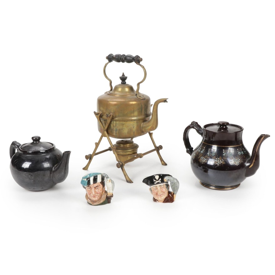 Variety of Teapots and Two Royal Doulton Toby Jugs