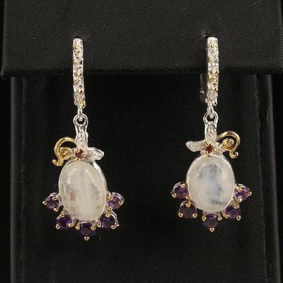 Sterling Rainbow Moonstone, Amethyst and Rhodolite Garnet Earrings