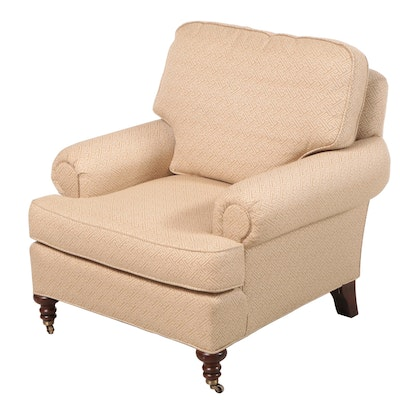 Rolled Arm Upholstered Armchair, Late 20th Century
