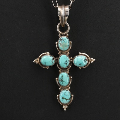 Southwestern Sterling Turquoise Cross Pendant Necklace