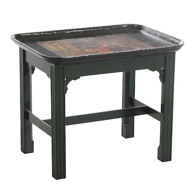 Laquered Papier Mâché Tray on Stand, 20th Century