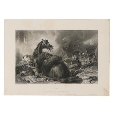 """Lumb Stocks Engraving After Sir Edwin Landseer """"War,"""" 1854"""