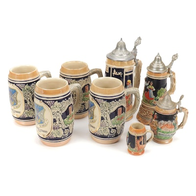 Marzi and Remy Childs and Other Hand-Painted Steins and Music Box