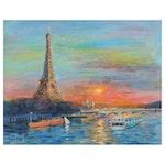 """Nino Pippa Oil Painting """"Paris Sunset,"""" 2014"""