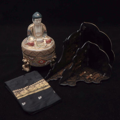 Japanese Satsuma Buddha Covered Box and Other Decorative Accents