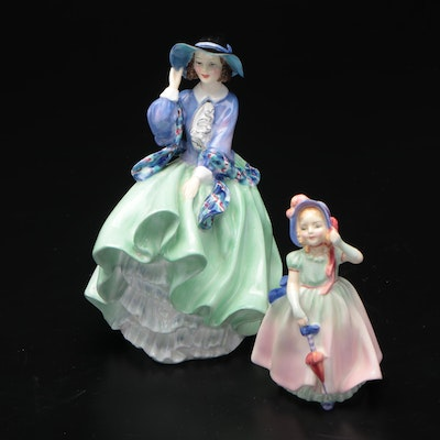 """Royal Doulton """"Top o' the Hill"""" and """"Babie"""" Bone China Figurines"""